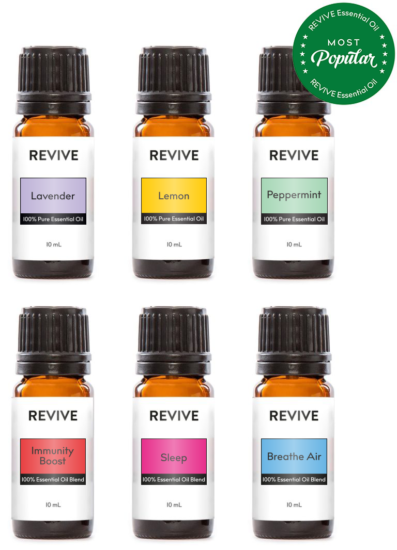 The Basics Kit includes 6 full-sized bottles of our favorite blends and essential oils: Lavender, Lemon, Peppermint, Immunity Boost, Sleep, Breathe Air.