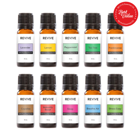 Our Starter Kit includes 10 full-sized bottles of our best essential oils and blends: Lavender, Lemon, Peppermint, Tea Tree, Frankincense, Copaiba, Immunity Boost, Sleep, Breathe Air, Stress Easy
