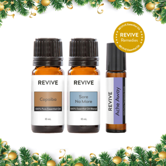 The Relief Kit is Copaiba, Sore No More, and Ache Away.