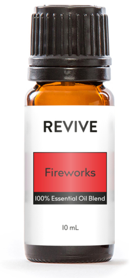REVIVE Fireworks is a proprietary blend of Sweet Orange, Patchouli, Copaiba, Bergamot, Sandalwood, Tobacco, Osmanthus, Pink Pepper, Lavandin, Galbanum, and Vanilla absolute essential oils.