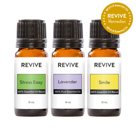 The Worry Free Kit is REVIVE Stress Easy, Lavender, and REVIVE Smile