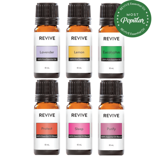 The Basics Kit includes 6 full-sized bottles of our favorite blends and essential oils: Lavender, Lemon, Eucalyptus, Protect, Sleep, Purify.