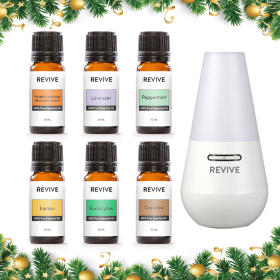 This is a kit of our 6 Best Selling Essential Oils with our favorite diffuser: Frankincense Carterii, Lavender, Peppermint, Lemon, Eucalyptus, Copaiba and our REVIVE Oasis Ultrasonic Diffuser, Mist Humidifier, And Ionizer
