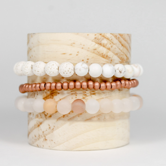 Diffuser Jewelry is a beautiful way to bring the benefits of Essential Oils everywhere you go! The REVIVE Delfina Diffuser Bracelet Stack is a MUST for 2020.