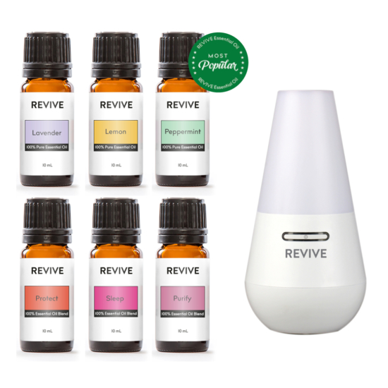 The Basics Kit includes 6 full-sized bottles of our favorite blends and essential oils: Lavender, Lemon, Peppermint, Protect, Sleep, Purify with our favorite ultrasonic diffuser: the REVIVE Ultrasonic Diffuser, Mist Humidifier, and Ionizer.