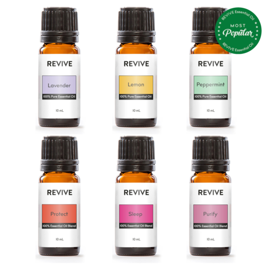 The Basics Kit includes 6 full-sized bottles of our favorite blends and essential oils: Lavender, Lemon, Peppermint, Protect, Sleep, Purify.