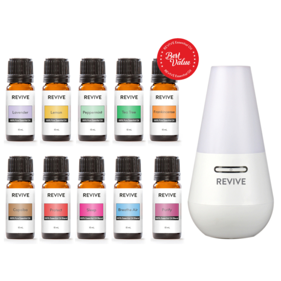 Our Starter Kit includes 10 full-sized bottles of our best essential oils and blends: Lavender, Lemon, Peppermint, Tea Tree, Frankincense, Copaiba, Protect, Sleep, Breathe Air, Purify with our favorite ultrasonic diffuser: the REVIVE Ultrasonic Diffuser, Mist Humidifier, and Ionizer.