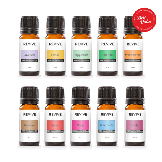 Our Starter Kit includes 10 full-sized bottles of our best essential oils and blends: Lavender, Lemon, Peppermint, Tea Tree, Frankincense, Copaiba, Protect, Sleep, Breathe Air, Purify.