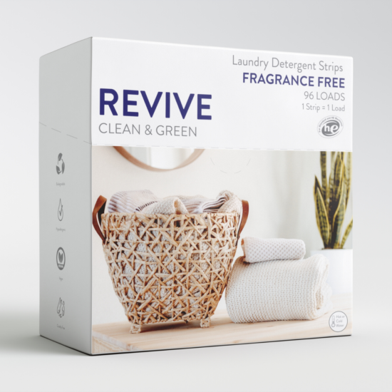 Our little box has the equivalent cleaning power to a jug of your favorite detergent with none of the nasty stuff (no synthetic fragrances, no toxic dyes, no parabens, no phosphates, no chlorine) and none of the plastic. Keep your same laundry routine and cut out all the nasty stuff and plastic waste by using REVIVE Laundry Detergent.
